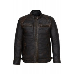 Mens 1201 Speed Racing Old Look Black Vintage Buff Contraband Real 100% Leather Jacket