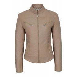 'SPEED' SR01 Ladies Beige Napa Retro Biker Style Fitted Motorcycle Leather Jacket