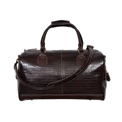 NEW 'DUFFLE' LARGE Weekend Holdall Travel Gym Real Genuine Leather Bag (brown CROC)