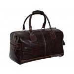 NEW  DUFFLE  LARGE Weekend Holdall Travel Gym Real Genuine Leather Bag (brown CROC), Leather Holdalls, UK WEEKEND BAG BROWN CROC L, ,