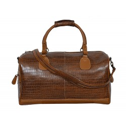 NEW 'DUFFLE' LARGE Weekend Holdall Travel Gym Real Genuine Leather Bag (TAN CROC)