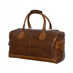 NEW  DUFFLE  LARGE Weekend Holdall Travel Gym Real Genuine Leather Bag (TAN CROC), Leather Holdalls, UK WEEKEND BAG TANCROC L, ,