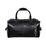 NEW  DUFFLE  LARGE Weekend Holdall Travel Gym Real Genuine Leather Bag (Black CROC), Leather Holdalls, UK WEEKEND BAG BLACK CROC L, ,