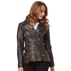 Feminine Ladies Trench Coat Tan Black Rub Off Washed Motorbike Style Designer Real Leather Jacket