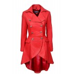 Edwardian RED NAPA Ladies Women RED Washed Real Leather Jacket Coat Gothic 3491-P, Full Length Coats, 3491-P Red, ,