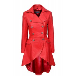 Edwardian RED NAPA Ladies Women RED Washed Real Leather Jacket Coat Gothic 3491-P