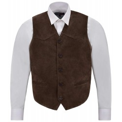 Men's Brown Suede Real Leather Waistcoat Western Cowboy Festival Party Vest Zara