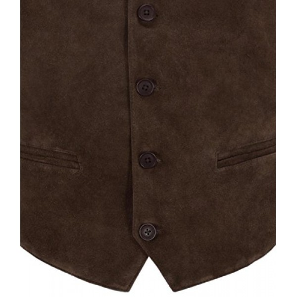Men S Brown Suede Real Leather Waistcoat Western Cowboy Festival