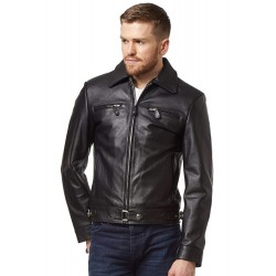 New German Luftwaffe Men's Jacket Black Cow Hide Classic Biker Style Fitted Real Leather 5074