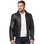 New German Luftwaffe Men s Jacket Black Cow Hide Classic Biker Style Fitted Real Leather 5074, Short Jackets, 5074 Black, ,