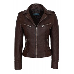 Rider Ladies Brown Washed Biker Motorcycle Style Soft Real Nappa Leather Jacket 9823
