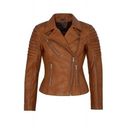 Ladies New 9334 Tan Stylish Fashion Designer Biker Soft Real Napa Leather Jacket