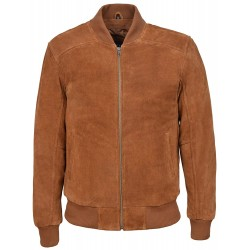 70's Classic Bomber Men's Tan Plain Suede Wax Biker Style Italian Fitted Real Leather Jacket 275-P