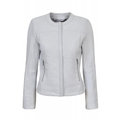 Ladies 5328 White Stylish Fashion Designer Quilted Soft Real Leather Jacket