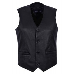 Men's New 5226 Party Fashion Stylish Black Real Genuine Classic Designer Real Soft Lambskin Leather Waistcoats
