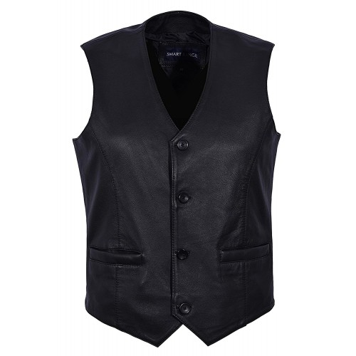 Men s New 5226 Party Fashion Stylish Black Real Genuine Classic Designer Real Soft Lambskin Leather Waistcoats, Waistcoat, 5226 Black, ,