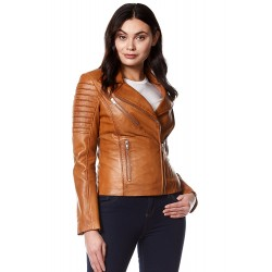Ladies Real Leather Jacket Tan Stylish Fashion Designer Soft Biker Motorcycle Style 9334