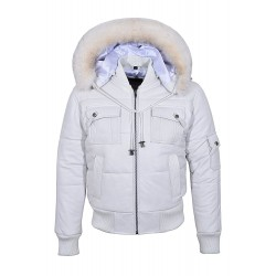 New PILOT SIX PUFFER Men's White Hooded Bomber Genuine Real Lambskin Leather Jacket