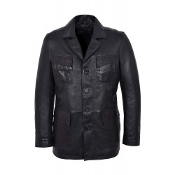 'TROPIC SAFARI' Men's Black Waxed Lambskin Stylish Fashion Designer Genuine Real Leather Jacket Coat