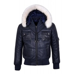 New PILOT SIX PUFFER Men's Navy Hooded Bomber Genuine Real Lambskin Leather Jacket