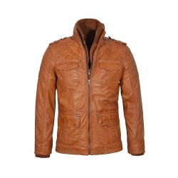 New Men's Dale Expedition Safari Tan Stylish Retro Casual Quilted Lambskin Leather Jacket 3539