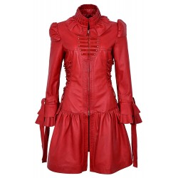 GOTIKA Red Napa Ladies Punk Rock Music Laced Ribbon Leather Jacket Coat 6273