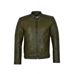 Men's 1829-B Olive Green Cool Retro Biker Style Soft Padded Real Lambskin Leather Jacket