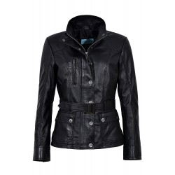 New Ladies Black Slim Fit Soft Real Lambskin Leather Jacket Casual Military Collar Rock 1160