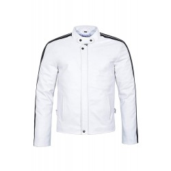Men's New White Black Stripe Biker Motorcycle Rider Style Soft Real Lambskin Leather Jacket 3890