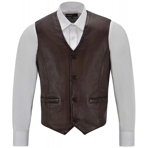 Men s Real Brown Leather Waistcoat Party Fashion Stylish Napa Leather Vest 5226, Waistcoat, 5226 Brown, ,