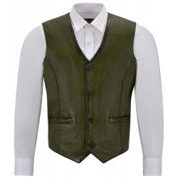 Men's Real Olive Green Leather Waistcoat Party Fashion Stylish Napa Leather Vest 5226