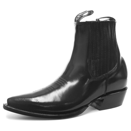 Grinders Austin Men Black Leather Ankle Zip Block Hell Western Cowboy Boots, Gents Grinders, Grinders Austin Men Black, ,