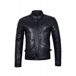 Men's New Real Lambskin Leather Jacket Black Soft Biker Motorcycle Rider Style 3890 Plain
