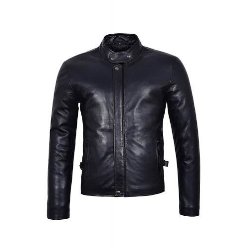 Men s New Real Lambskin Leather Jacket Black Soft Biker Motorcycle Rider Style 3890 Plain, Short Jackets, 3890 Black, ,