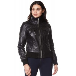 Fusion New Ladies Real Lambskin Leather Jacket Black Washed Short Bomber Biker Motorcycle Style 3758