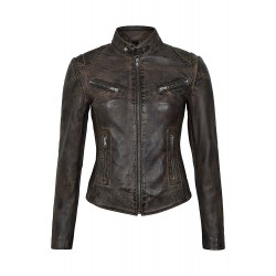 Speed Ladies Dirty Brown Vintage Retro Biker Style Real Lambskin Leather Jacket