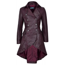 Edwardian Cherry Napa Ladies Women Washed Real Leather Jacket Coat Gothic