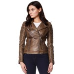 New Ladies Real Leather Jacket Dirty Brown Designer Biker Motorcycle Style 9334, Short Jackets, 9334 Dirty Brown, ,