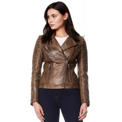 New Ladies Real Leather Jacket Dirty Brown Designer Biker Motorcycle Style 9334