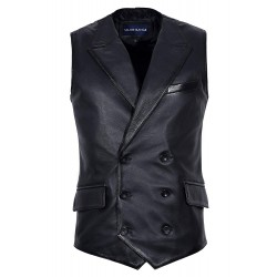 Men's Jude Dapper Style Fine Italian Real Lambskin Leather Double Breasted Lapel Waistcoat 1642