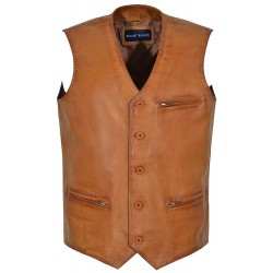 Bradley Dapper Style Fine Italian Tan Real Leather Waistcoat Vest with Zip Pockets 4528
