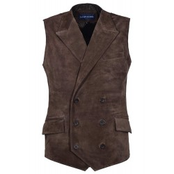 Men's Jude Dapper Style Fine Italian Real Brown Suede Leather Double Breasted Lapel Waistcoat 1642