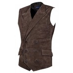Men s Jude Dapper Style Fine Italian Real Brown Suede Leather Double Breasted Lapel Waistcoat 1642, Waistcoat, 1642 -  Brown Suede, ,