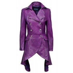 Edwardian 3492 Ladies Women New Purple Real Leather Laced Back Jacket Coat Gothic