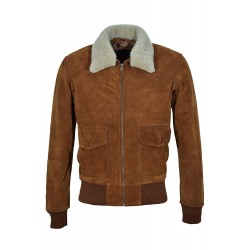 Grand Top Gun Men's Tan Suede Beige Hair On Jet Fighter Bomber Air Force Pilot Leather Jacket