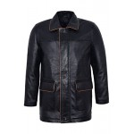 Bradley Classic Men s Blazer Black Napa with Tan Trim Leather Jacket Luxury Coat 5085, Medium Jackets, 5085 Black, ,