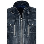 Ven Desel Men s Vintage Navy Blue Racing Denim Look Biker Real Leather Jacket 1802, Short Jackets, 1802 Navy Blue, ,