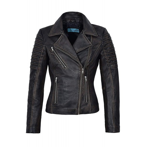 Ladies NewBlack Rub Off Wax Stylish Fashion Designer Biker Real Leather Jacket 9334, Short Jackets, 9334 Black Rub Off, ,