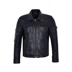 Men's Fashion Zipper Biker Style Black Wax Soft 100% Real Leather Jacket M-120