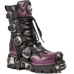 New Rock M.591-S3 Purple Flame Metallic Black Leather Biker Goth Boots, METALLIC, New Rock M.591-S3 Purple, ,